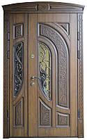Двери уличные, Стандарт 1170*2050, модель 133АС, 3D фрезеровка и патина с двух сторон, карниз