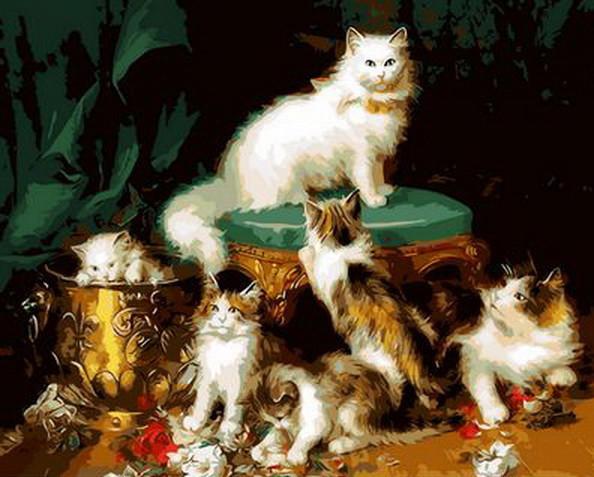 Картина по номерам Кошачье семейство 40 х 50 см (MR-Q902)