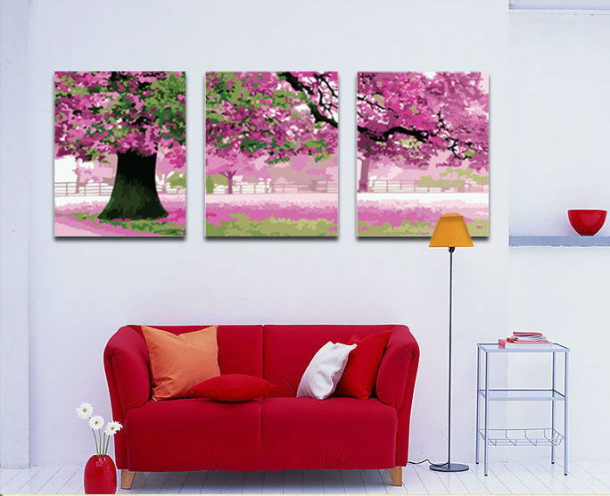 Картина по номерам Триптих. Весенний цвет Триптих 50 х 120 см (MX3003)