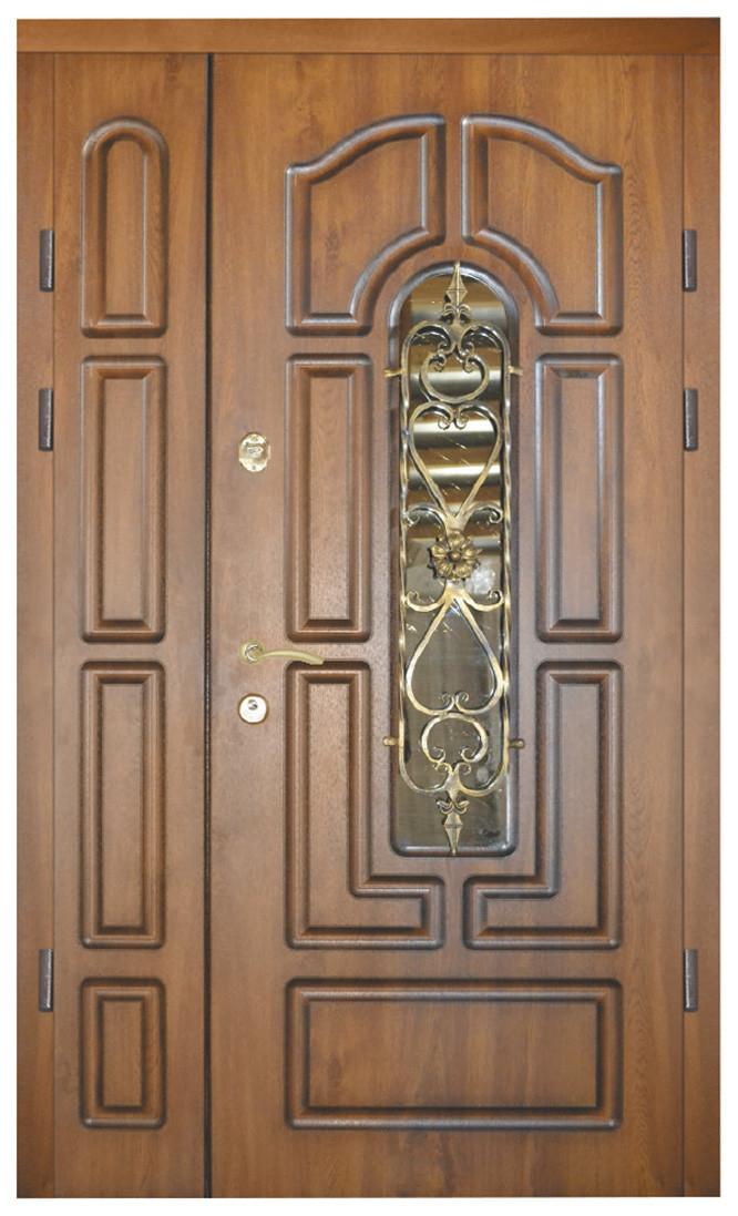 Двери уличные, модель 33 Элит, VINORIT, патина, на прямоугольной трубе, накладки 16 мм