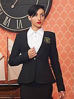 Стильный женский деловой пиджак черный р.L