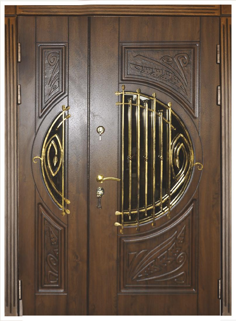 Двери уличные, модель 35 Премиум, VINORIT, MOTTURA, сердцевина MUL-T-LOCK, 3D фрезеровка и патина с двух стор