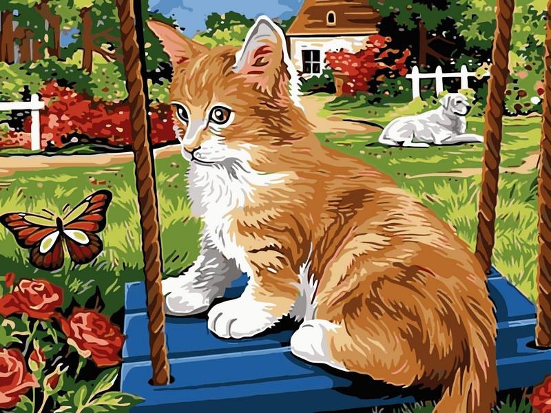 Картина по номерам Рыжий котик на качели 30 х 40 см (VK115)
