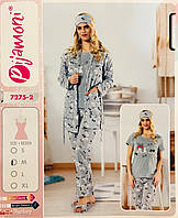 Женская пижама хлопок PIJAMONI Турция размер S(44) + тапочки 7275-2