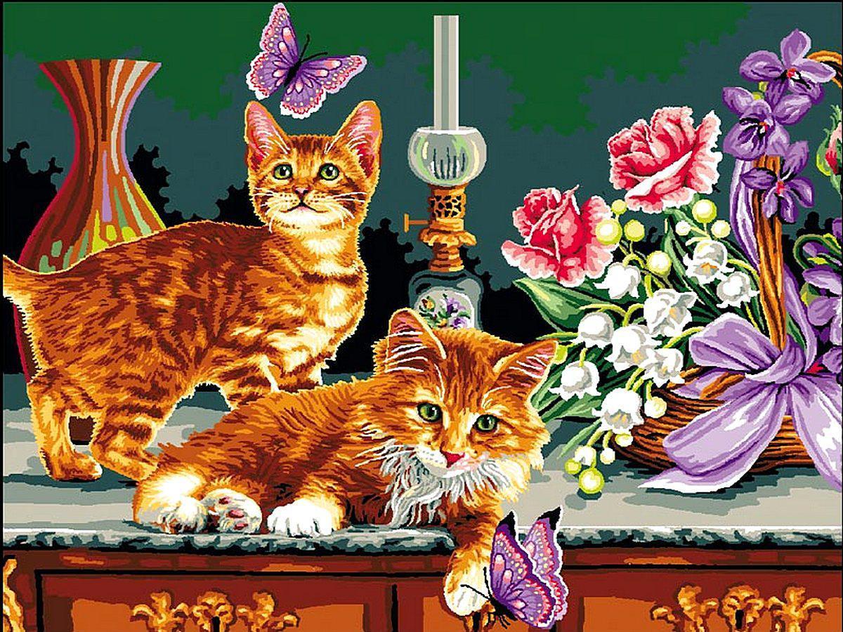 Картина за номерами Кошенята і кошик квітів 30 х 40 см (VK180)