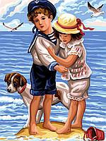 Картина по номерам Дети на пляже 30 х 40 см (VK194)