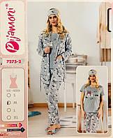Женская пижама хлопок PIJAMONI Турция размер L(48) + тапочки 7275-2