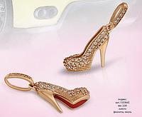 Золотой Кулон туфелька фианиты эмаль