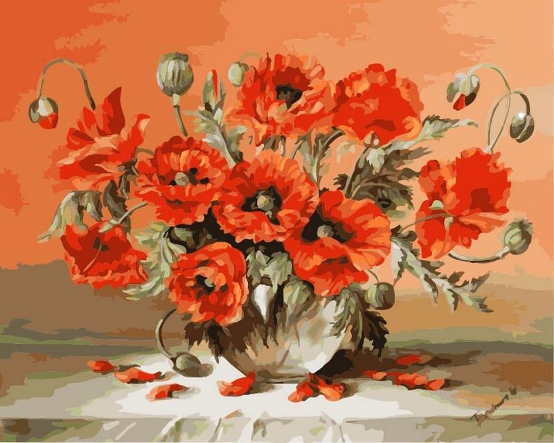Картина по номерам Маки в вазе 40 х 50 см (VP293)