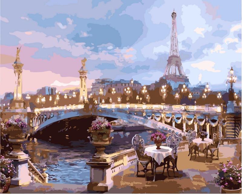 Картина по номерам Романтика вечернего Парижа 40 х 50 см (VP519)