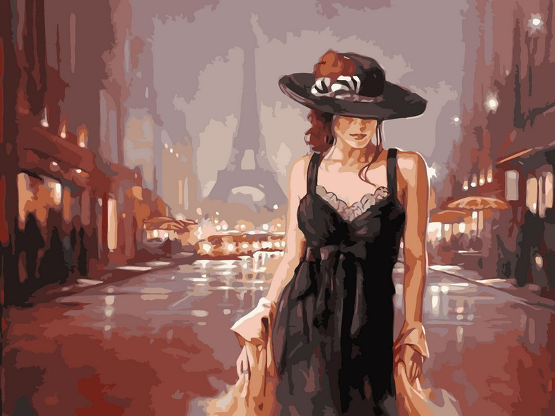 Картина по номерам Париж в стиле ретро 40 х 50 см (VP542)