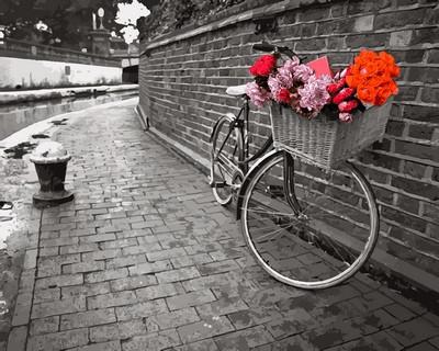 Картина за номерами Велосипед з квітковою кошиком 40 х 50 см (VP695)