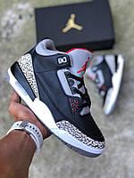 Чоловічі баскетбольні кросівки Nike Air Jordan 3 Retro Black/Grey репліка аїр джоданы