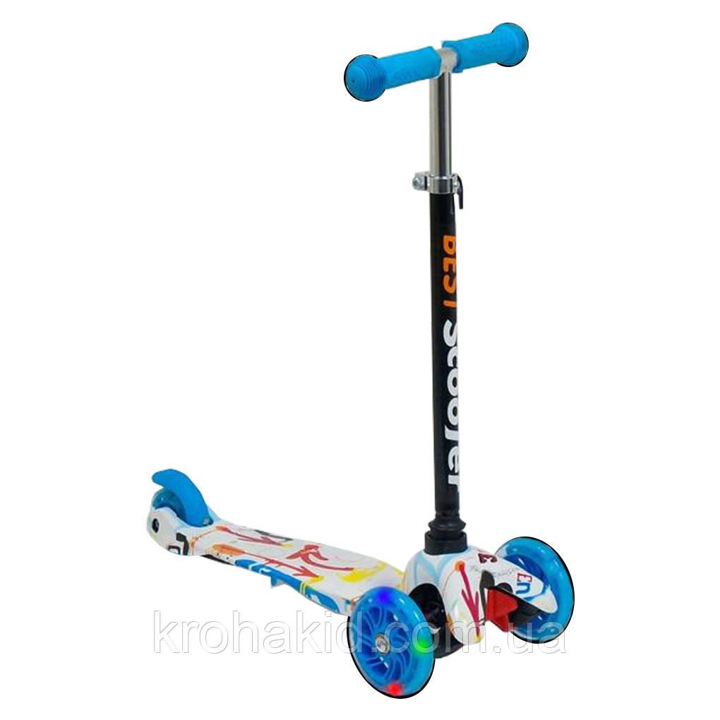 Самокат Best Scooter  1291  Mini  Графический рисунок (Голубой)