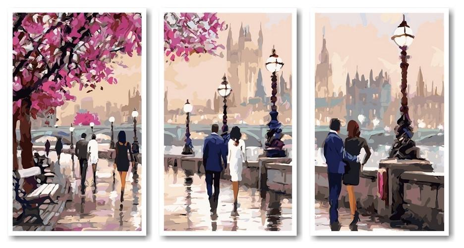 Картина по номерам триптих цветущая набережная