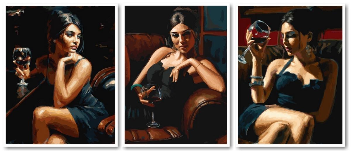 Картина по номерам Триптих Девушка с бокалом вина Триптих 50 х 120 см (VPT032)