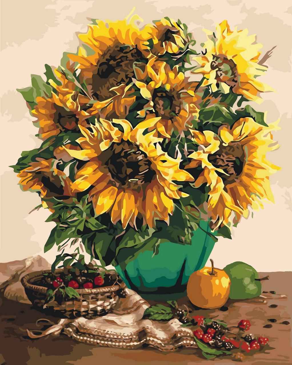 Картина по номерам Подсолнухи и осенние фрукты 40 х 50 см (KHO3019)