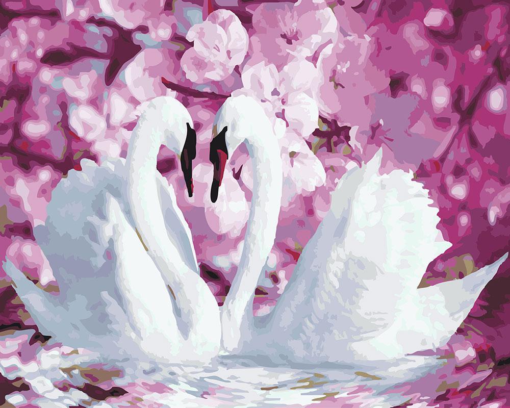 Картина по номерам Лебеди в окружении цветов 40 х 50 см (BK-GX22739)