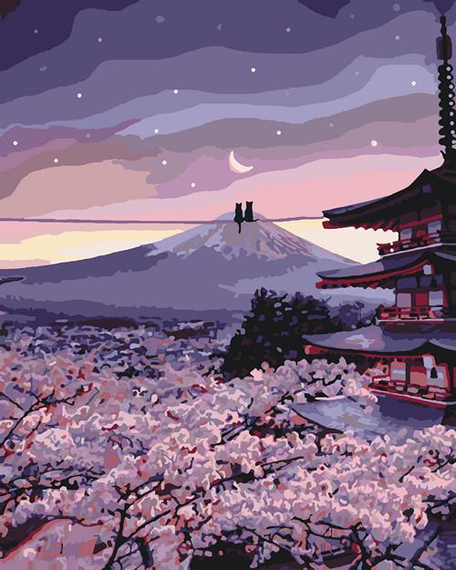 Картина по номерам Романтика цветущей сакуры 40 х 50 см (KHO3527)