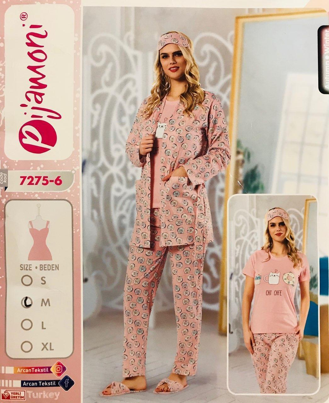 Женская пижама хлопок PIJAMONI Турция размер XL(50) + тапочки 7275-6
