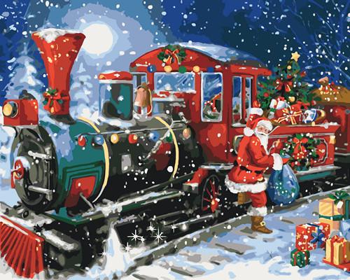 Картина по номерам Рождественский поезд 40 х 50 см (KHO4522)