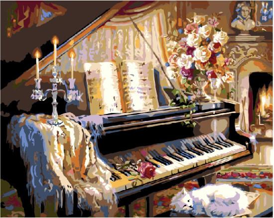 Картина по номерам Музыкальный вечер у камина 40 х 50 см (BK-G467)