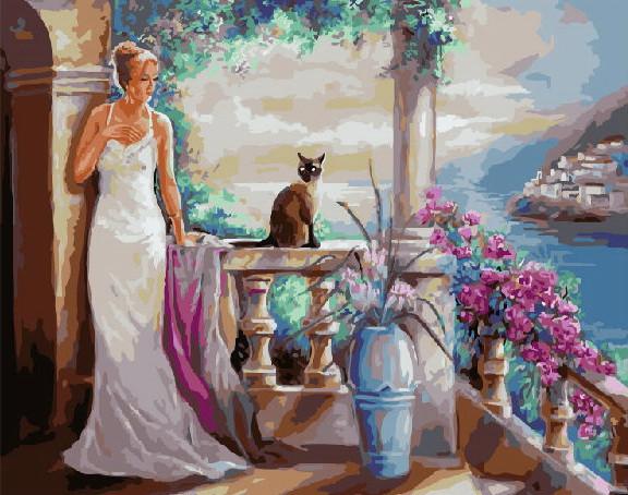 Картина по номерам Леди и ее кошка 40 х 50 см (BRM3802)