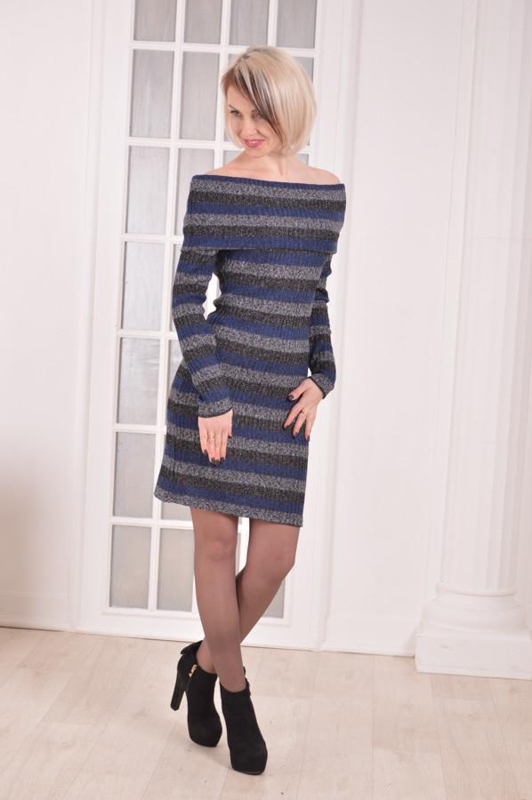 Женское платье-хомут в полоску ангора MILAVA размеры 40 -52