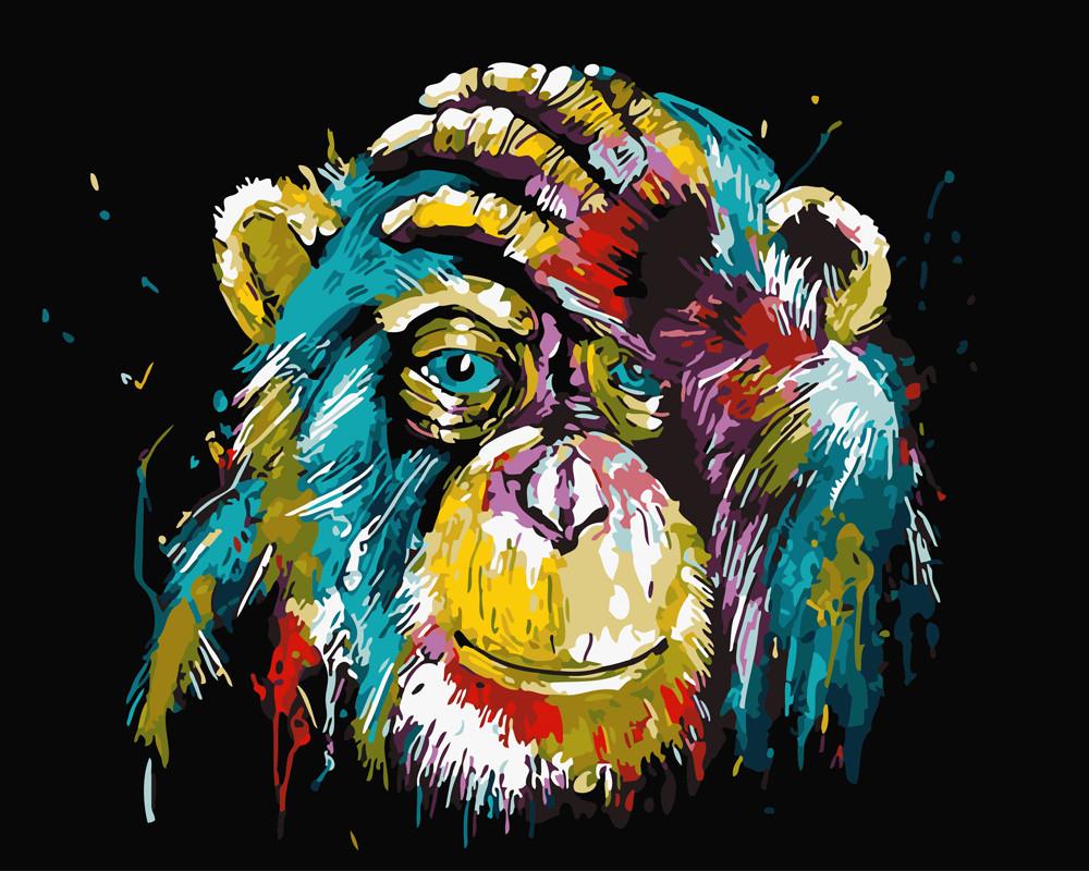 Картина по номерам Цветной шимпанзе 40 х 50 см (BK-GX25714)