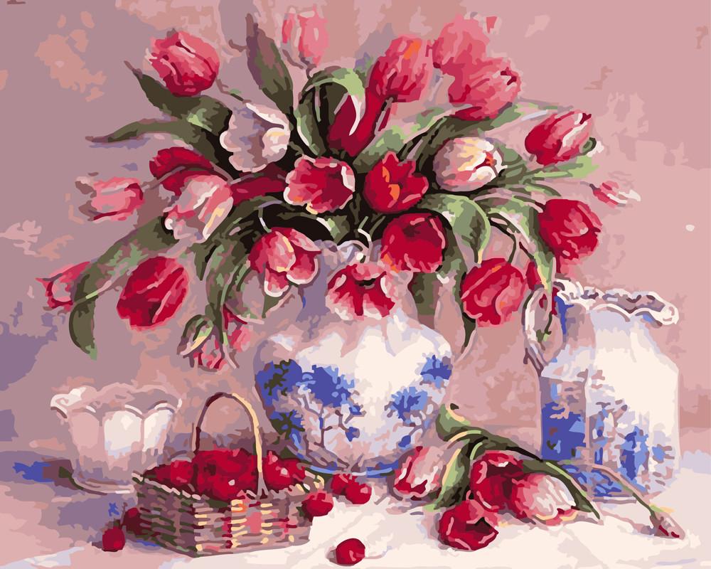 Картина по номерам Тюльпаны и вишни 40 х 50 см (BK-GX5418)