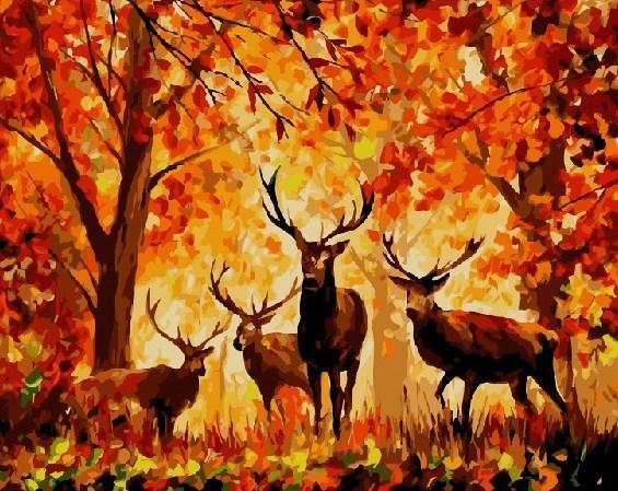 Картина по номерам Олени в осеннем лесу 40 х 50 см (BK-GX7627)