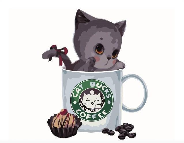 Картина за номерами Сірий котик в кавовій чашці 40 х 50 см (BK-GX8398)