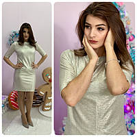 Новинка! Сукня арт (М323), тканина турецький трикотаж люрекс, колір gold silver ( срібло, золото), фото 1