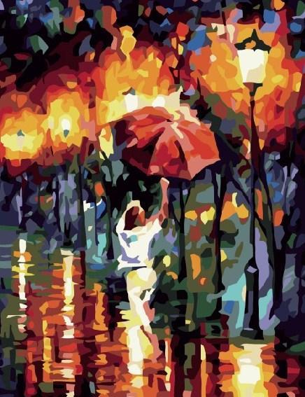 Картина по номерам Прогулка под красным зонтом 40 х 50 см (BRM6391)