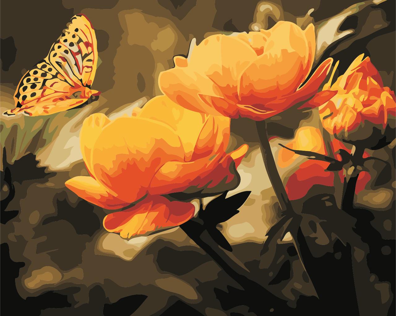 Картина по номерам Желтые цветы и бабочка 40 х 50 см (AS0351)