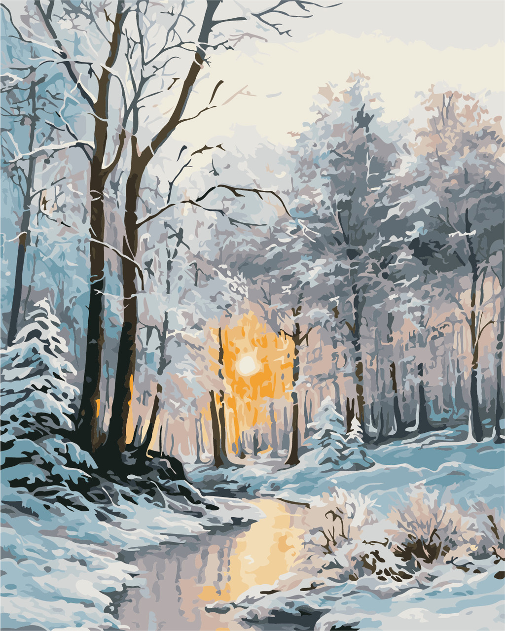 Картина по номерам Зимний лес 40 х 50 см (AS0377)