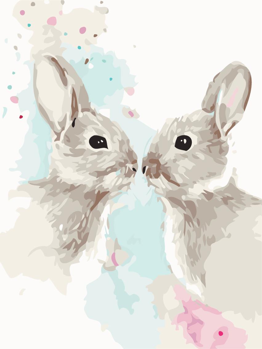 Картина по номерам Цветные кролики 30 х 40 см (AS0481)