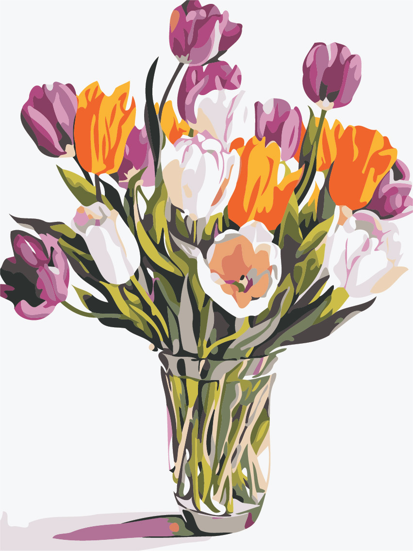 Картина по номерам Разноцветные тюльпаны 30 х 40 см (AS0488)