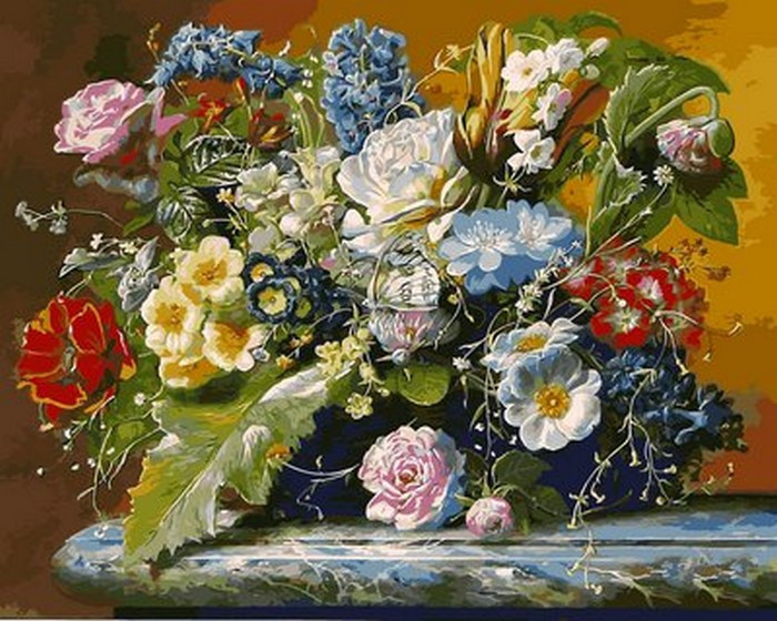 Картина по номерам Роскошный букет и бабочка 40 х 50 см (VP1047)