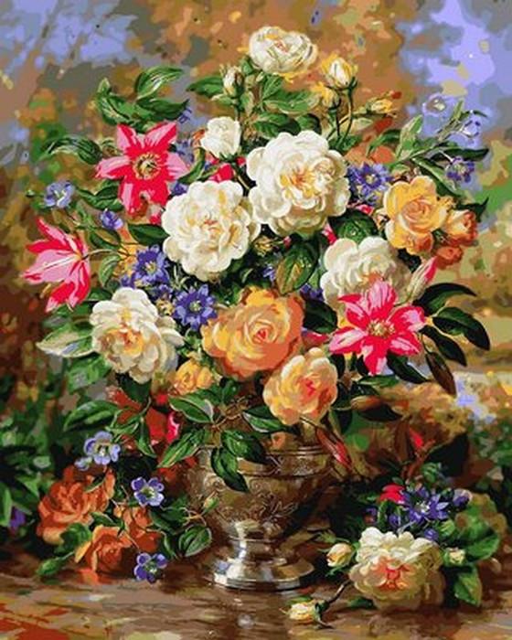 Картина по номерам Лилии и желтые розы 40 х 50 см (VP1052)