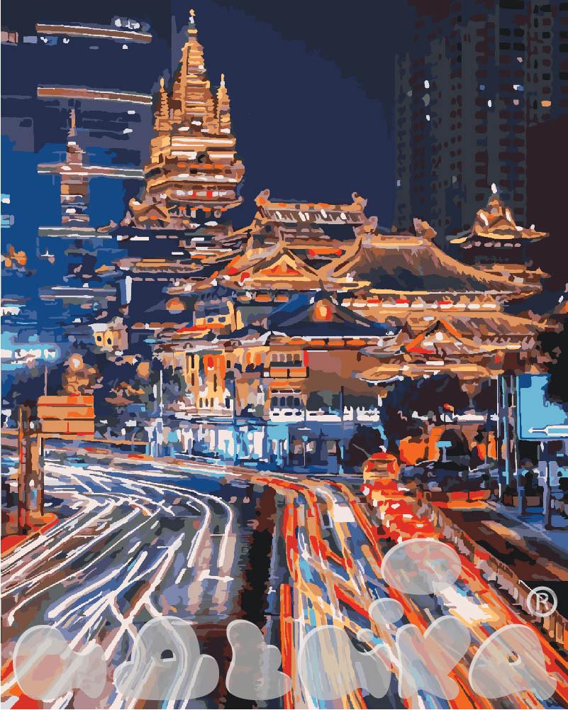 Картина по номерам Ночной Шанхай 40 х 50 см (KHO3543)