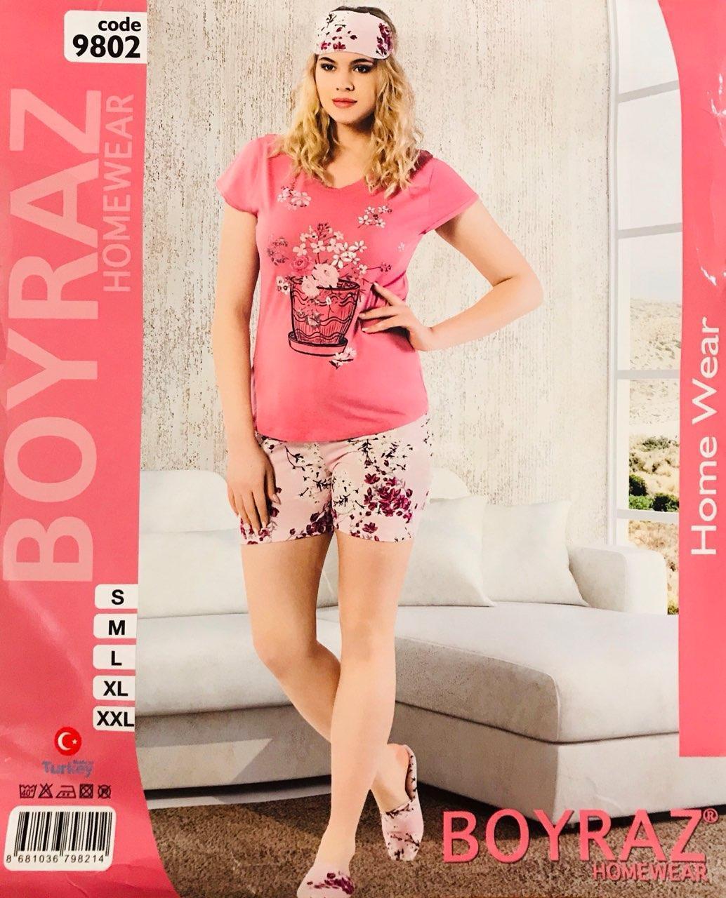 Женская пижама хлопок BOYRAZ Турция размер L(48) + тапочки 9802