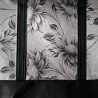 Эко сумка  хозяйственная с замочком элегант роза белый фон(спанбонд)