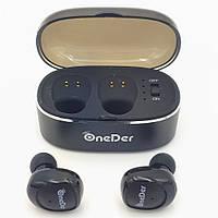 Беспроводные наушники Bluetooth гарнитура OneDer W11 в кейсе черные