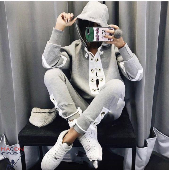 серый (меланж)   спортивный костюм с люверсами
