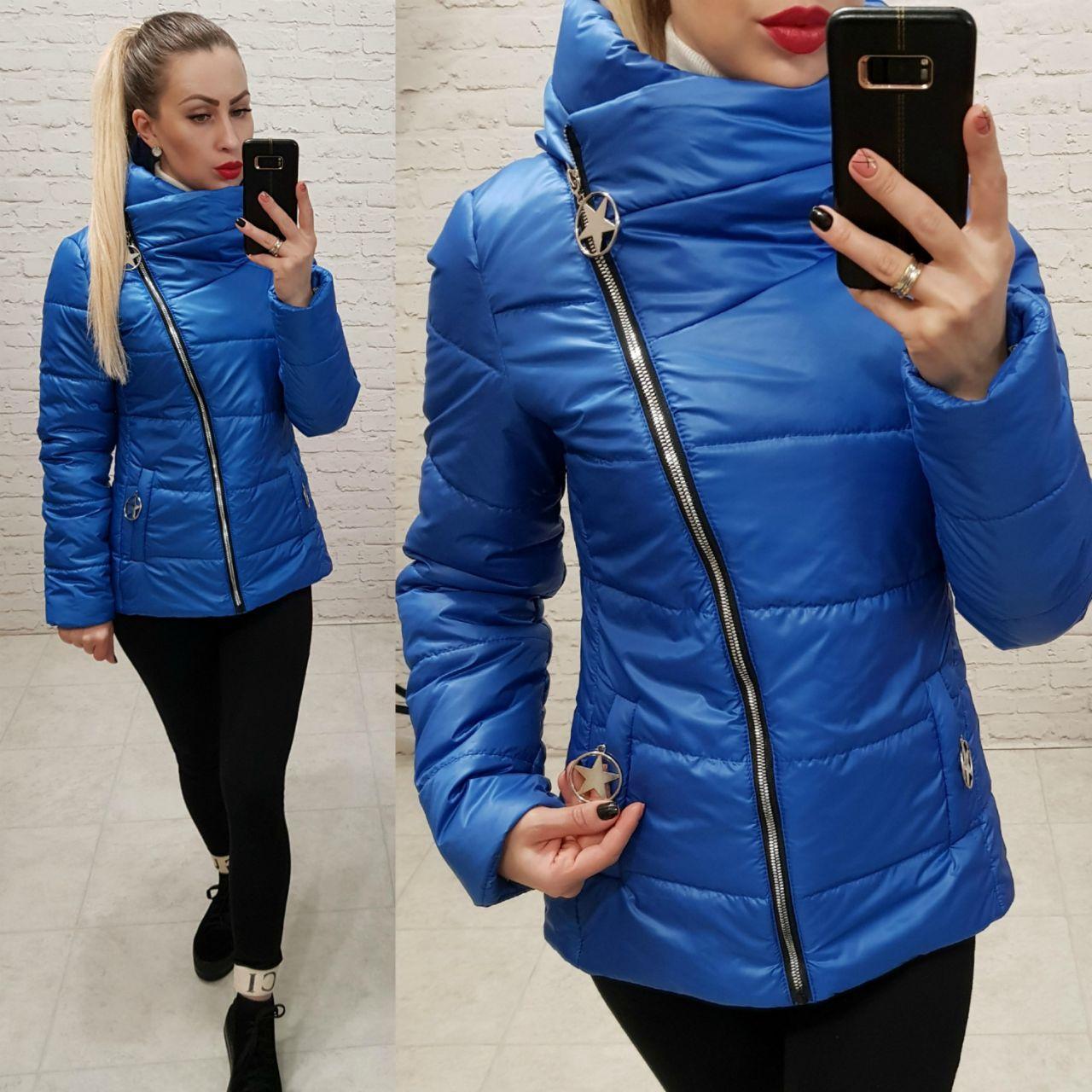 Куртка весна/осень, плащевка лак, модель 501, цвет - электрик