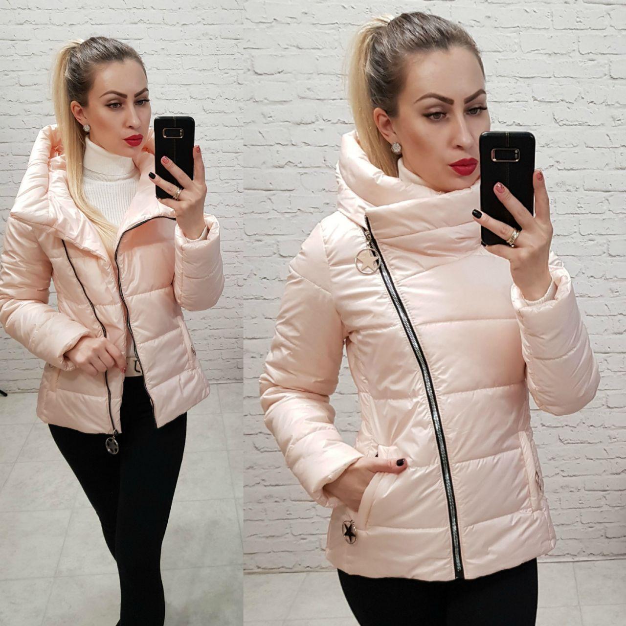 Куртка весна/осень, плащевка лак, модель 501, цвет - пудра