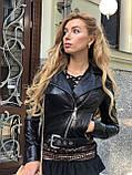 Черная кожаная куртка с поясом, фото 2