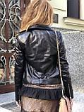 Черная кожаная куртка с поясом, фото 4
