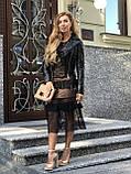 Черная кожаная куртка с поясом, фото 6